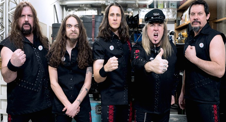 Riot V bassist Donnie Van Stavern (second from right) said the band's current name reflects its evolving lineup and sound. - VIA RIOT V'S WEBSITE
