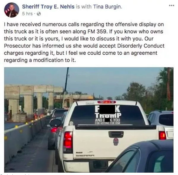SCREENSHOT FROM TROY NEHLS' FACEBOOK PAGE