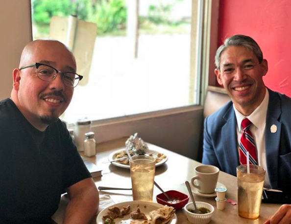 Ron Nirenberg eating tacos with The GOAT Shea Serrano - INSTAGRAM / RON_NIRENBERG