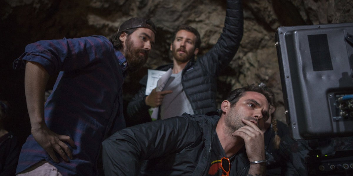 Co-director Ben Foster, first assistant director Kyle Shea and co-director Mark Dennis on the set of Time Trap. - COURTESY OF PALADIN