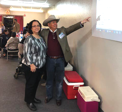 Republican Texas House candidate Fred Rangel (right) points out poll results on the night of the February 12 special election. - FACEBOOK / FRED RANGEL