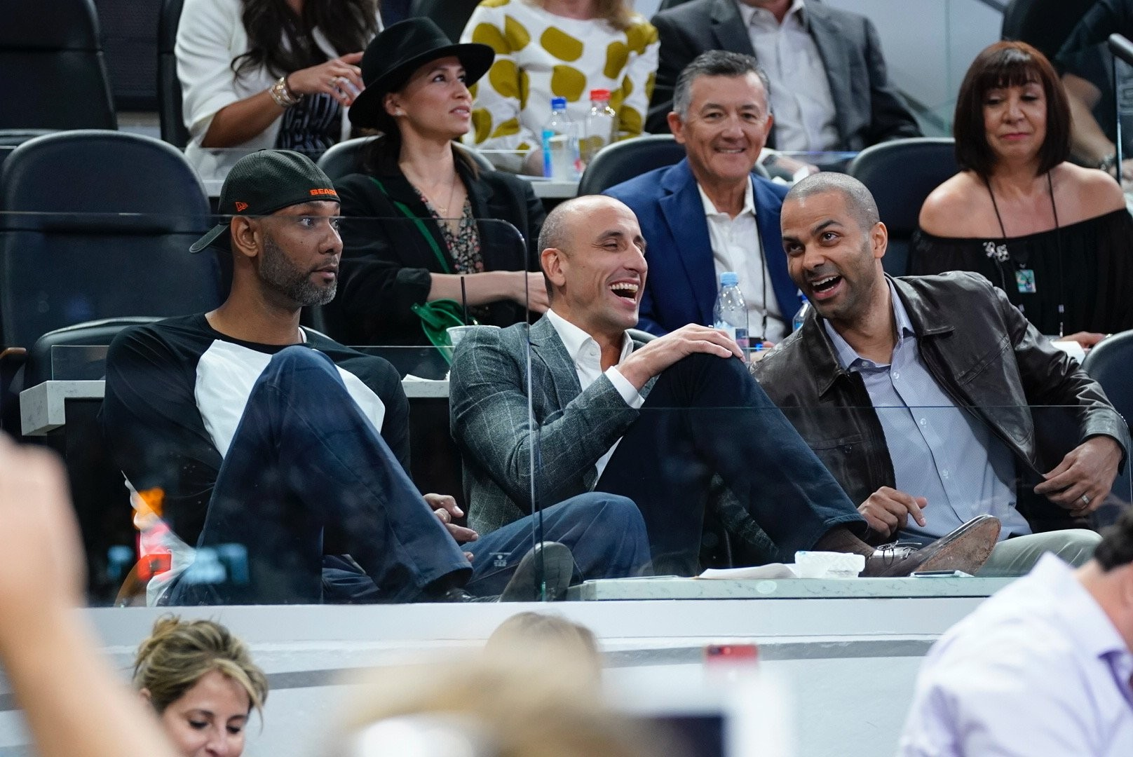 3d38e5b4f68 click to enlarge The Spurs' big three share a laugh before Manu Ginobili's  jersey retirement ceremony. -