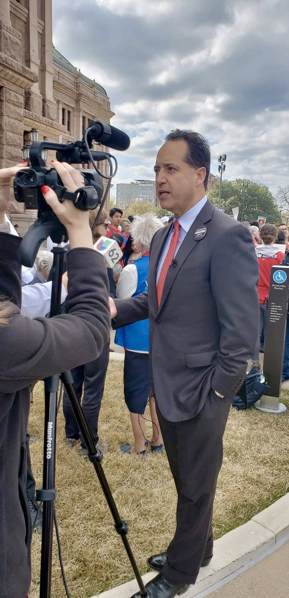 Texas Sen. Jose Menendez speaks to TV news crews outside the state capitol. - TWITTER / JOSE MENENDEZ
