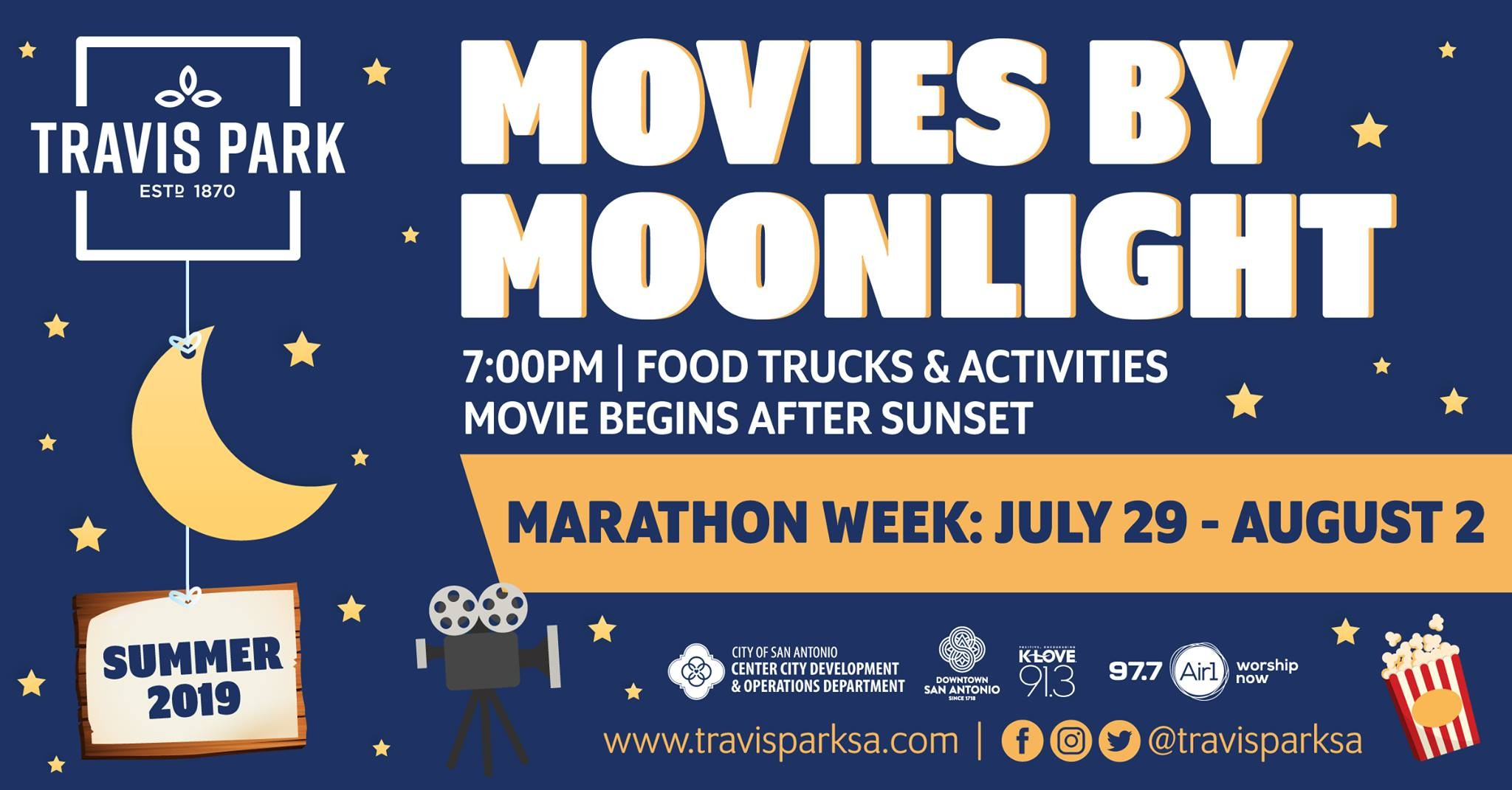 Travis Park Hosting Weeklong Free Movie Marathon to Close Out the Month of July