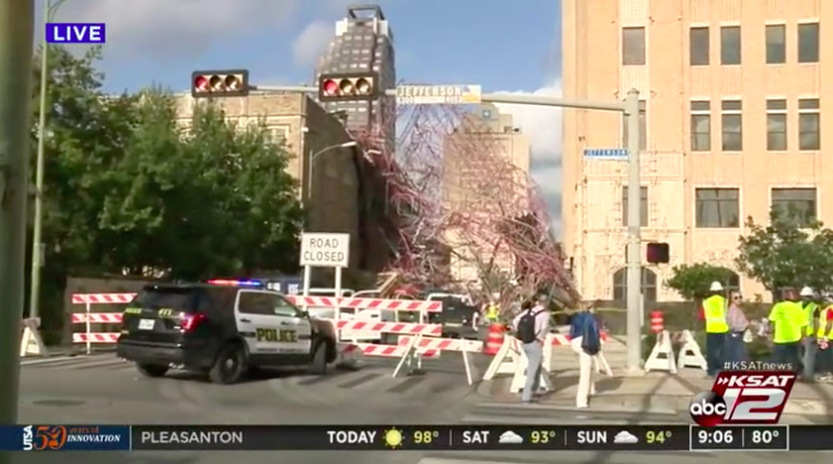Storm Winds Knock Over Scaffolding in Downtown San Antonio, Crushing Cars and Damaging Historic Church