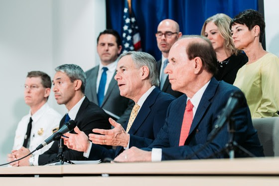 Texas Gov. Greg Abbott appears Monday at a press conference with San Antonio Mayor Ron Nirenberg and Bexar County Judge Nelson Wolff to discuss COVID-19 testing. - OFFICE OF THE GOVERNOR
