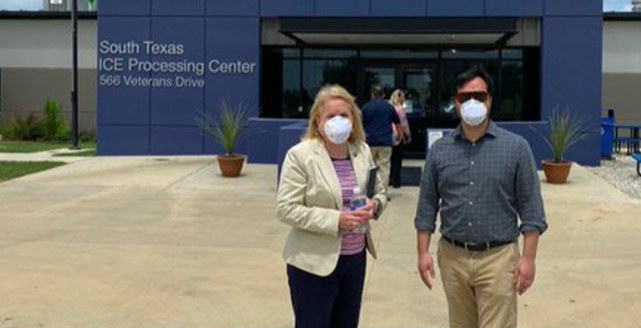 U.S. Reps. Sylvia Garcia and Joaquin Castro stand in front of the Dilley detention site during a recent tour. - TWITTER / REPSYLVIAGARCIA