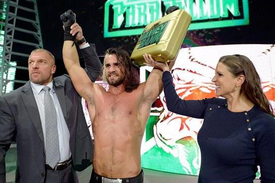 "Seth Rollins after winning ""Money In The Bank."" - COURTESY"
