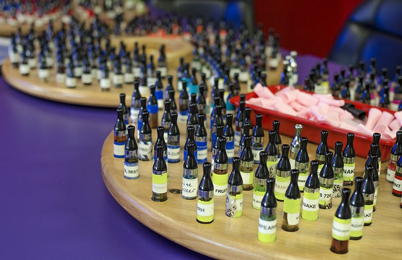 Take your pick: Juice flavors for vaping run the gamut. - SARA LUNA ELLIS