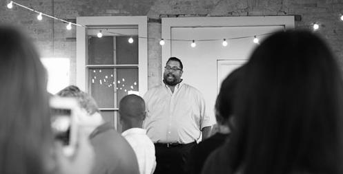Saint City Culinary Foundation founder Joel Rivas speaks to a group. - COURTESY PHOTO / SAINT CITY CULINARY FOUNDATION