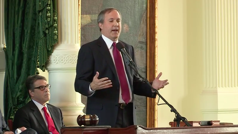 Attorney General Ken Paxton speaks at his swearing-in. - YOUTUBE SCREENSHOT