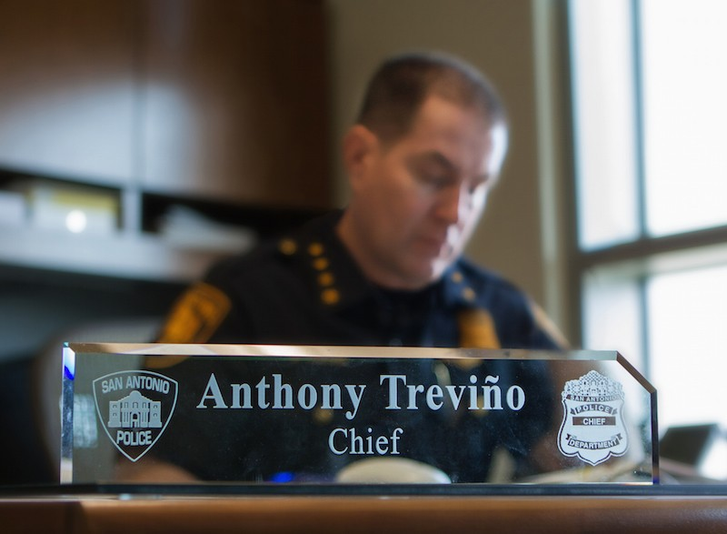 City Manager Sheryl Sculley announced the five finalists to lead SAPD. Among the candidates is Interim Chief Anthony Treviño. - COURTESY