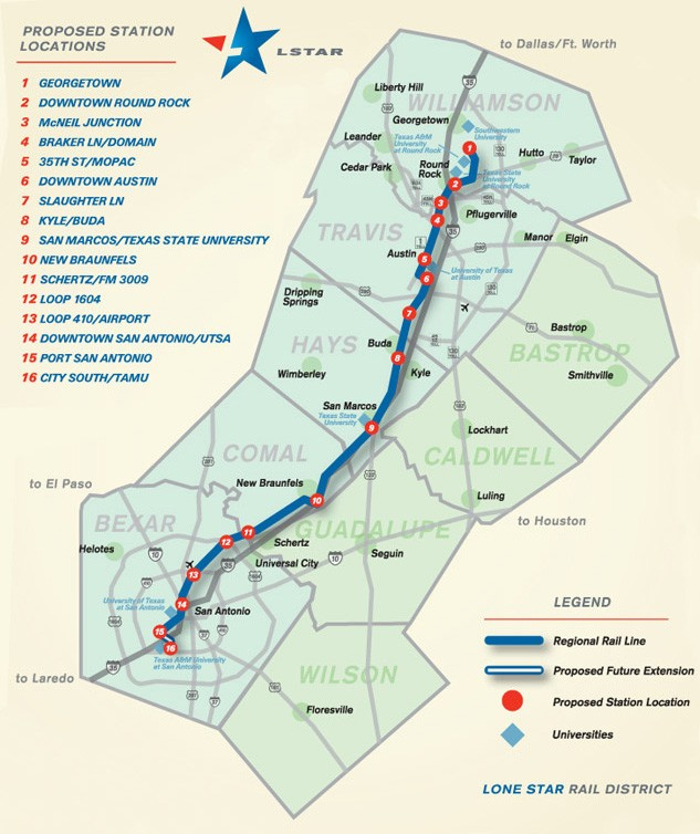 Map Of Central Texas Counties.Bexar County Approves 500 000 For Lone Star Rail District The Daily