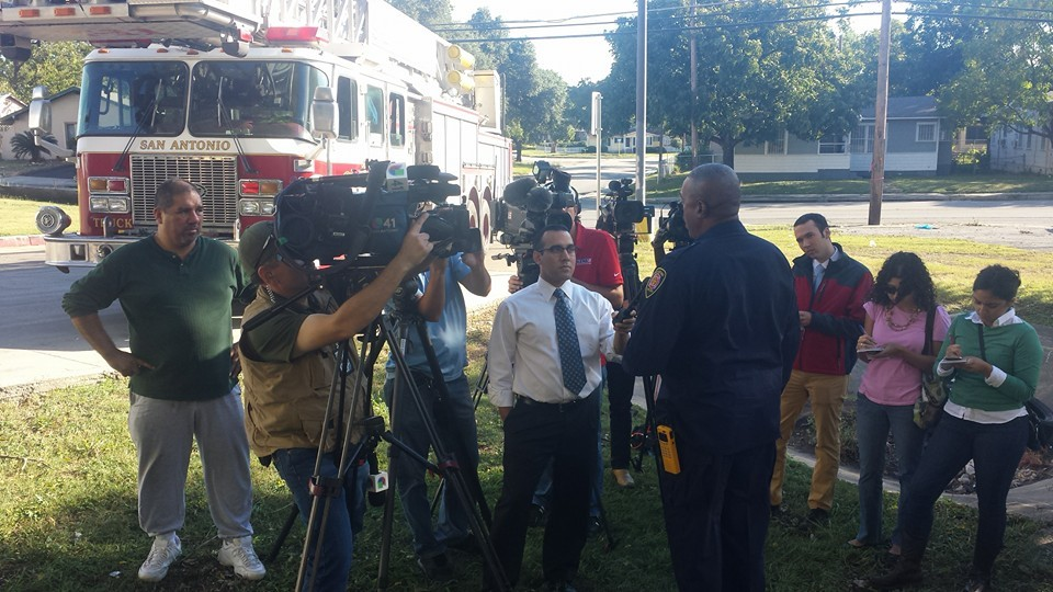 SAFD Chief Charles Hood addresses media near the drainage ditch by Babcock and Fredericksburg roads where a 41-year-old man was swept away. - SAN ANTONIO FIRE DEPARTMENT | FACEBOOK