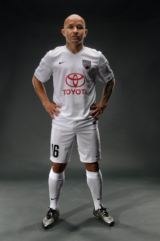 San Antonio FC midfielder Rafa Castillo shows off the team's alternate jersey. - COURTESY SAFC