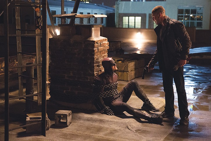 Charlie Cox and Jon Bernthal star as Matt Murdock/Daredevil and Frank Castle/the Punisher in Daredevil.