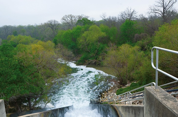 Once the process is complete, water cascades into the confluence of the San Antonio and Medina rivers.