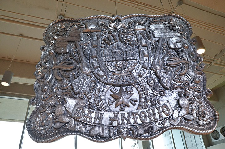 """Buckle Up"" by Campbell Bosworth is an oversized Texas belt buckle"