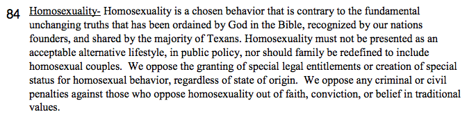 Texas gop platform homosexuality in christianity