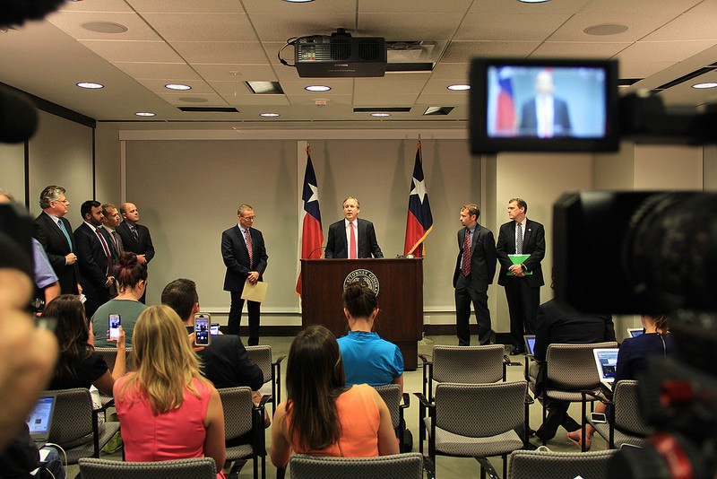 Texas Attorney General Ken Paxton speaks at a press conference announcing he has filed yet another lawsuit against the federal government. - TEXAS ATTORNEY GENERAL'S OFFICE