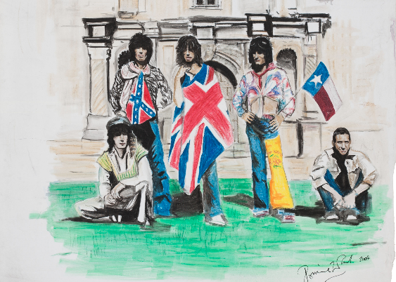 The Stones in front of The Alamo. - HERITAGE AUCTIONS | RON WOOD