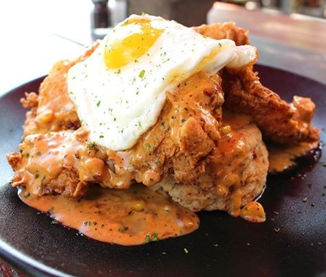 Chorizo cheddar biscuits and fried chicken. - COURTESY/MASH'D AT THE RIM