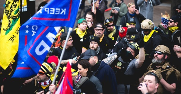"December's ""Million MAGA March"" became a draw for Proud Boys in Washington, D.C. - JOHNNY SILVERCLOUD / SHUTTERSTOCK.COM"