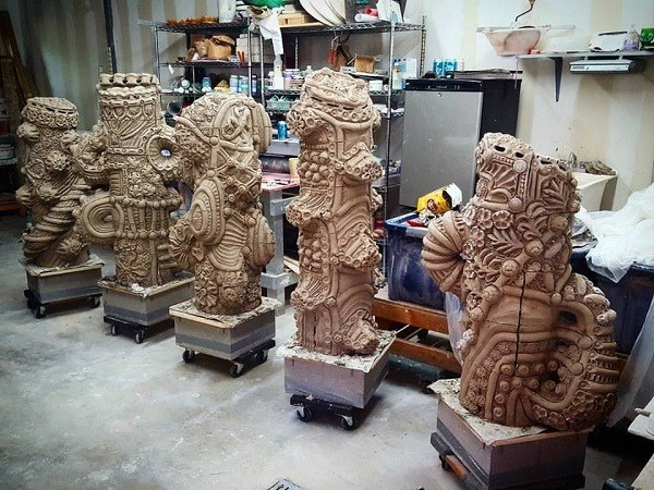 A look at all five columns, before the hardening and coloring process. - COURTESY