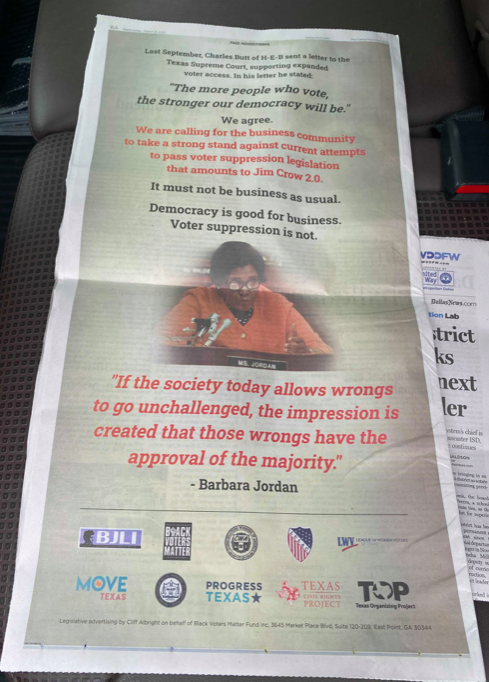 The ad taken out by Texas progressive groups includes a photo of Barbara Jordan, - TWITTER / @PROGRESSTX