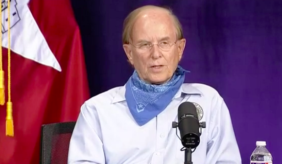 County Judge Nelson Wolff speaks at Monday night's COVID-19 briefing. - SCREEN CAPTURE / KSAT-TV