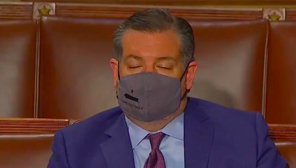 U.S. Sen. Ted Cruz was either counting sheep or recounting 2020 ballots during President Joe Biden's congressional address. - VIDEO CAPTURE / TWITTER @ATRUPAR