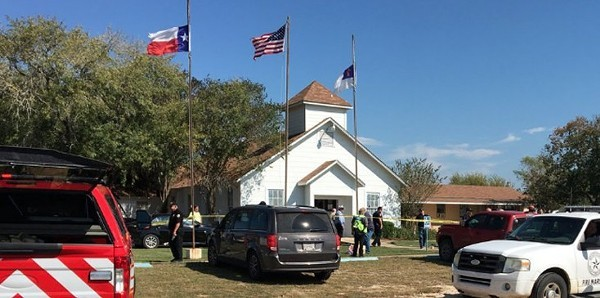 Emergency personnel surround Sutherland Springs First Baptist Church after the 2017 mass shooting. - TWITTER / MAJORNEWS911