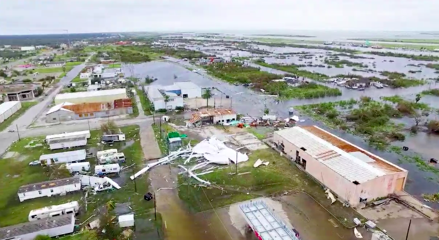 Drone image from Aransas Pass, post-Harvey. - KIIITV VIDEO SCREENSHOT