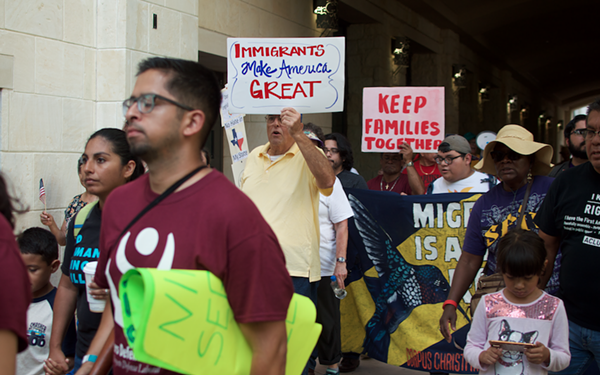 SB 4 protestors outside the federal courthouse in San Antonio. - MONICA SIMMONS
