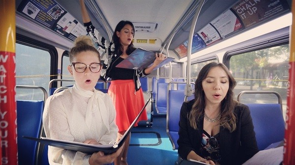 From Those Who Follow the Echoes members practicing on a VIA bus. - COURTESY