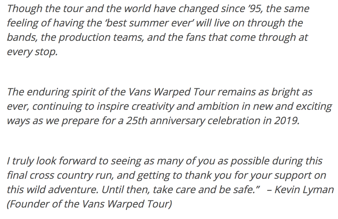 Empty Mosh Pits: Van's Warped Tour Is Done | SA Sound