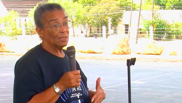 Nettie Hinton speaking at a 2014 community event. - NOWCASTSA VIA YOUTUBE