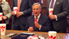 Gov. Greg Abbott makes a point about religious freedom with Chick-fil-A cups carefully arranged in the shot.