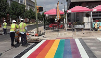 Main Strip Rainbow Crosswalk Installation Underway Ahead of Pride Celebrations