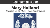 """Tangled Up in Blue: Lace Cyanotypes"" by Mary Holland"