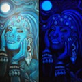 Xicana Artist Paints Black Light Piece of Selena as Aztec Figure