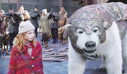"""""""Um, would you like a Coke or something?"""" Dakota Blue Richards and a CGI polar bear in The Golden Compass."""