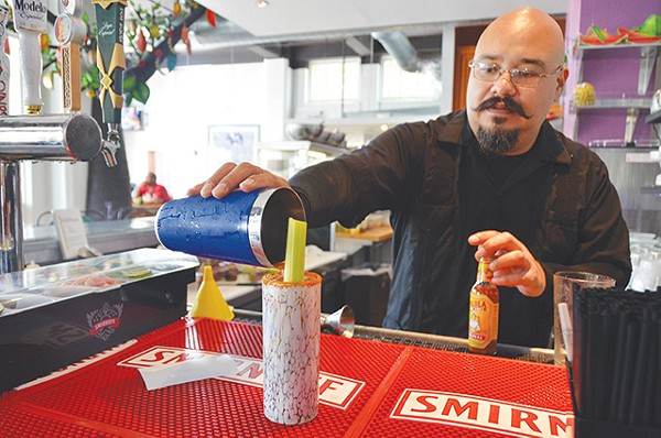 Versatile Bloodies, like the Bloody Maria or La Sangrona featured at The Fruteria, mix up the booze options - JESSICA ELIZARRARAS