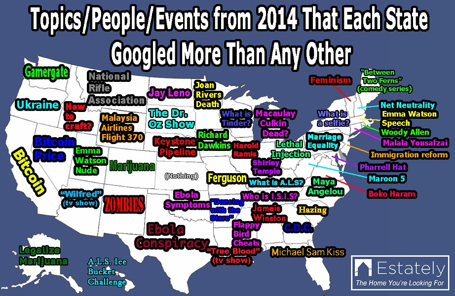 A map of the most frequently searched terms from each state. - COURTESY OF ESTATELY