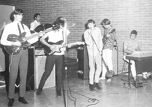 When we were kings: The Laughing Kind at the Teen Canteen in 1967. From left: Bill Smith, Sol Caseeb, Roy Cox, Tommy Smith, Keith Miller, and Bobby Treviño. - SAM KINSEY'S TEEN CANTEEN ARCHIVES