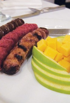 Wild game sampler (buffalo, venison, and wild boar sausages) served with spicy whole-grain mustard at Little Gretel.