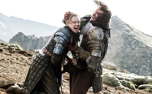 """Brienne of Tarth (Gwendoline Christie) and Sandor Clegane, """"The Hound"""", (Rory McCann) during their epic fight scene during the season 4 finale of HBO's Game of Thones. - COURTESY HBO"""