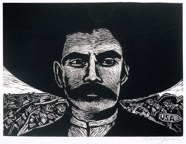 "Zapata's good looks added to his legend. Artist Sarah Jimenez: ""I thought he was sexy."" - SARAH JIMENEZ, ZAPATA, CA. 1960"