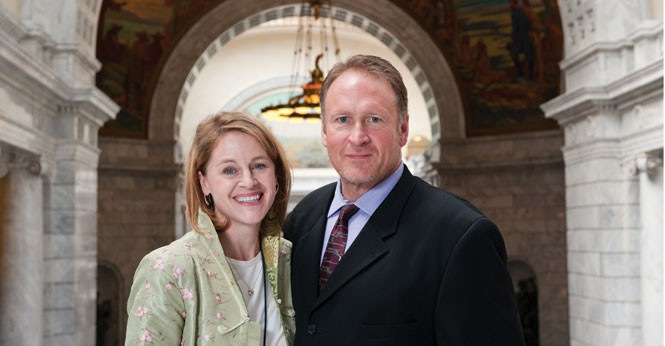 "A bill ""for law-abiding people"": - Sen. Mark Madsen, R-Saratoga Springs, with his wife, Erin. - NIKI CHAN"