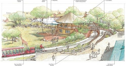 A rendition of the Hogle Zoo's African Savanna exhibit